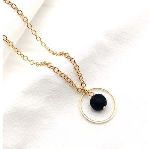 Jewelry - Gold round  lava stone essential oil necklace